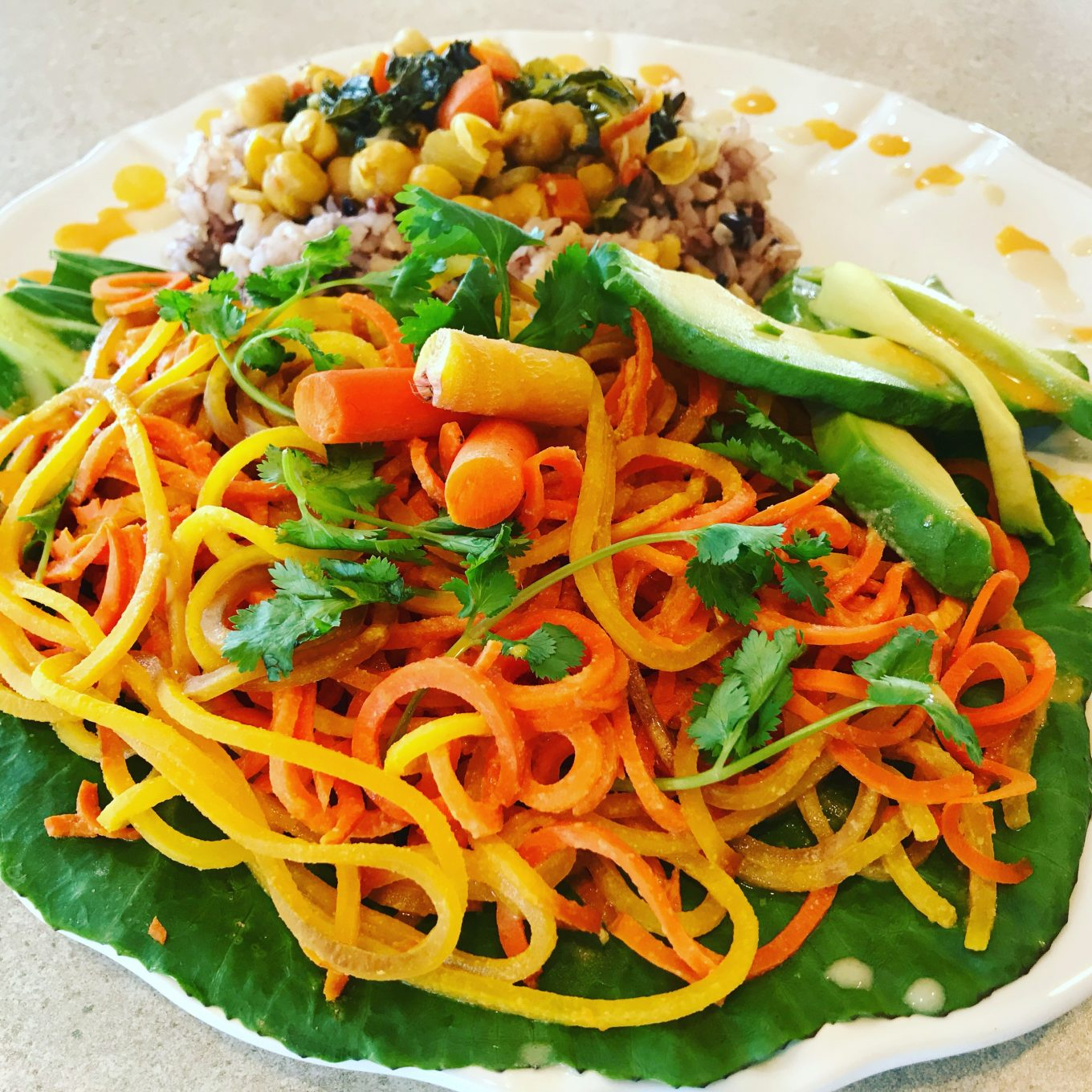 Spirialized Carrot Salad with Sweet Tahini dressing